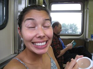 Putting on some makeup on the train from the airport into the downtown area.  Hot stuff.