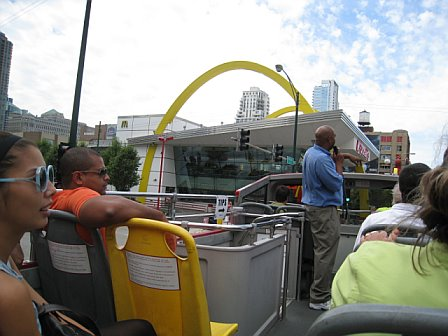 We took a Double Decker tour of the city... mostly so we could see Harpo Studios.  But look - McDonald's!