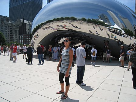 Posing in front of the famous bean in Millenium Park