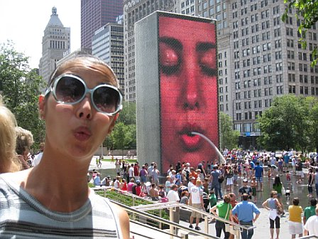 Another famous feature of Millenium Park.  A giant screen that squirts water out onto screaming children.