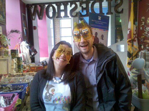 """Picture of """"beer goggles"""" and """"champage glasses"""" from the American Visionary Art Museum gift shop"""
