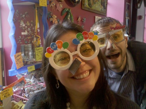 """Picture of """"Happy Birthday"""" glasses and margarita glasses from the American Visionary Art Museum gift shop"""