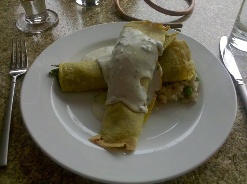 Picture of curried crepes from Mr. Rain's Funhouse restaurant.