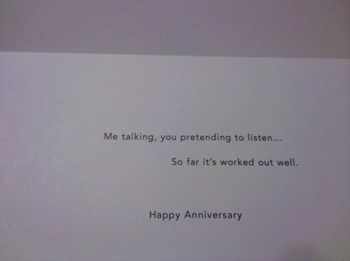 A photo of my anniversary card (inside)