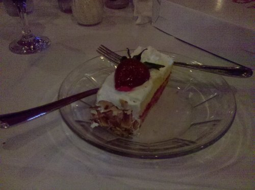 Photo of strawberry shortcake dessert.