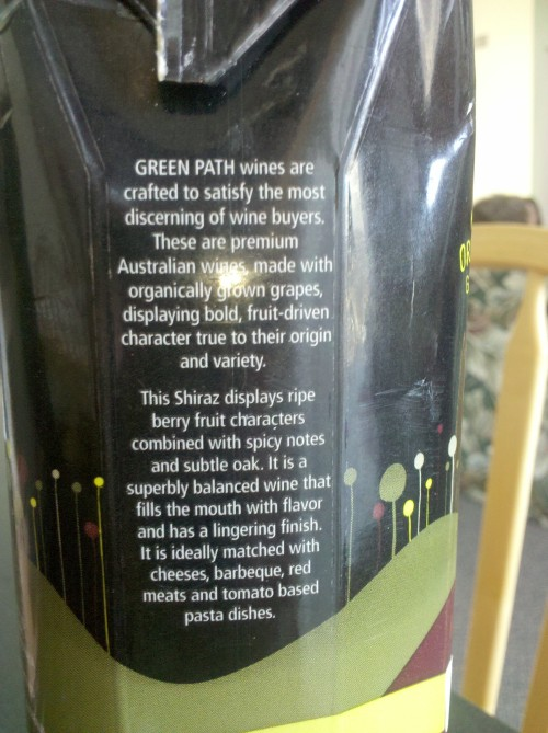 Image of the side of the Green Path Shiraz wine package