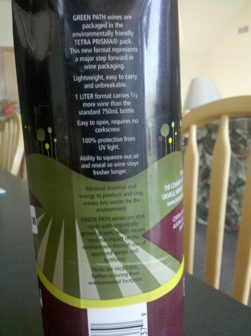 Image of the size of the Green Path Shiraz wine package